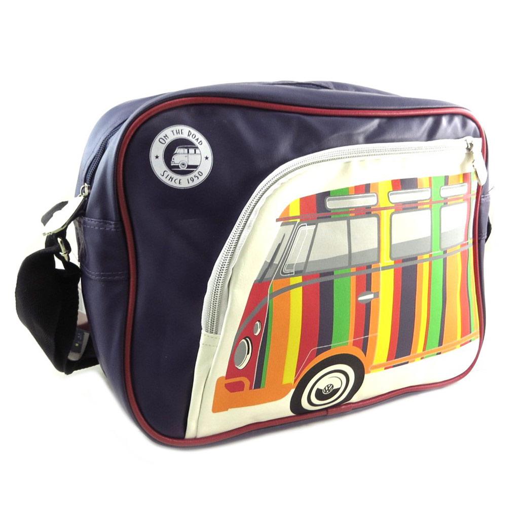 Sac bandoulière \'Volkswagen\' marine multicolore - 35x25x11 cm - [P9077]