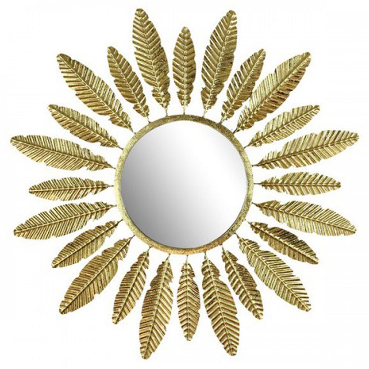 Miroir métal \'Jungle\' doré (feuilles, soleil) - 59 cm - [Q9456]
