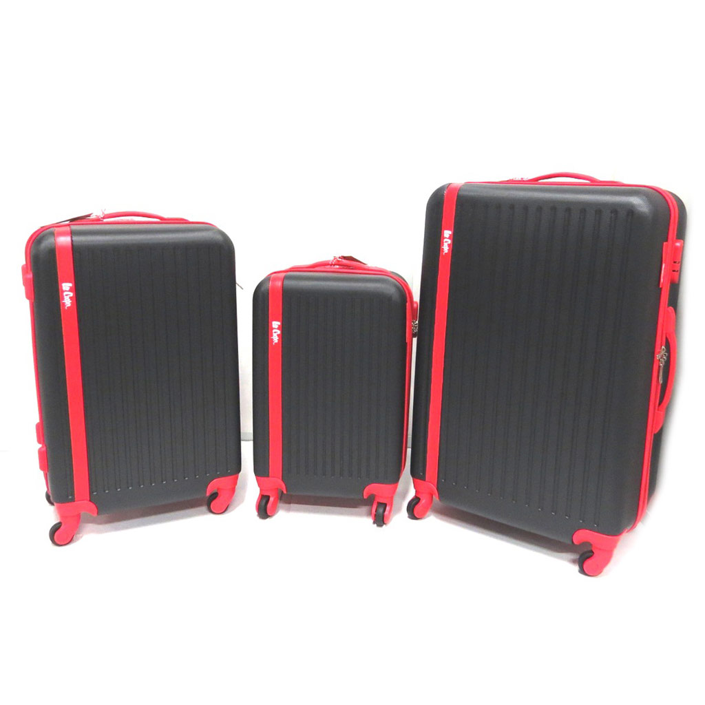 Set de 3 valises trolley ABS \'Lee Cooper\' noir rouge (55/65/75 cm) - [P0520]