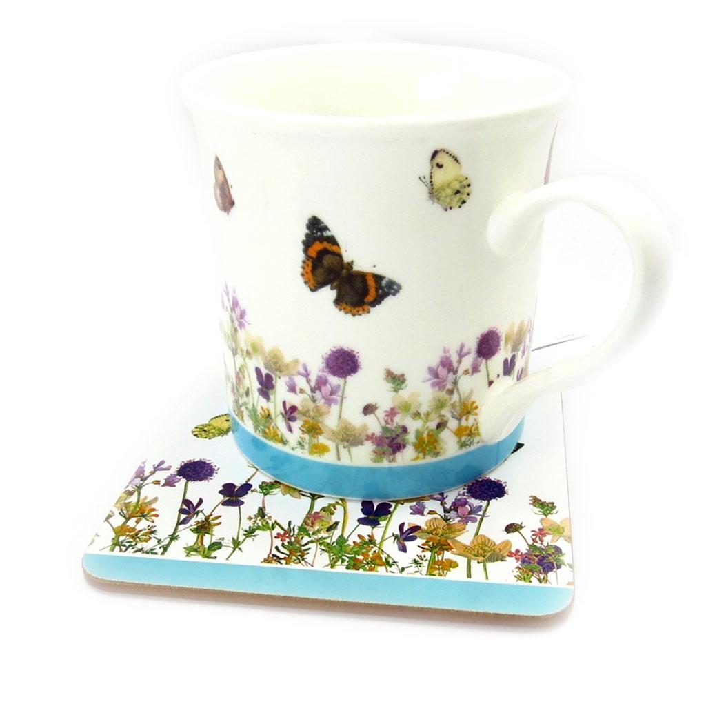 Coffret Mug porcelaine \'Papillons Romantiques\' ( + sous bock) - 95x80 mm - [R2156]