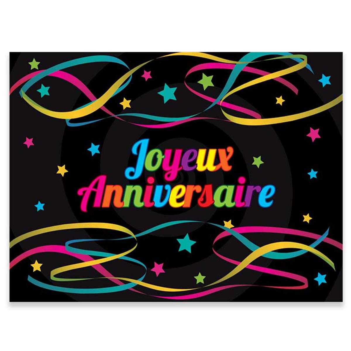 Pack de 12 sets de table papier \'Joyeux Anniversaire\' noir muticolore - 40x30 cm - [R2172]