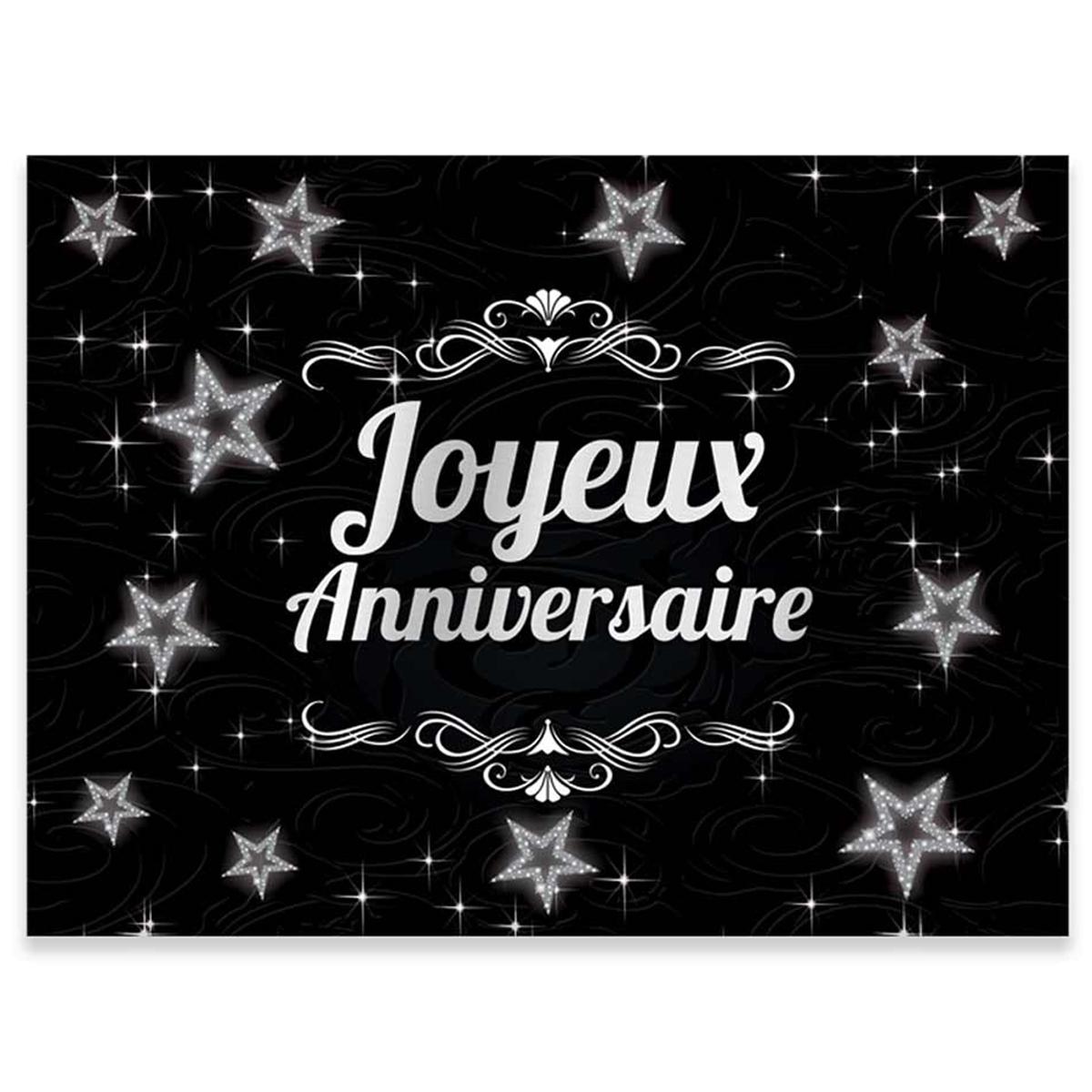 Pack de 12 sets de table papier \'Joyeux Anniversaire\' noir argenté - 40x30 cm - [R2173]