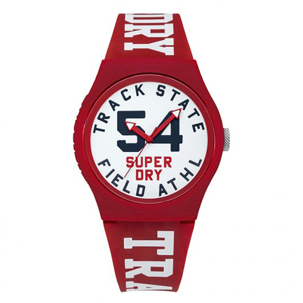 Montre silicone \'Superdry\' rouge blanc - 45 mm - [P9128]
