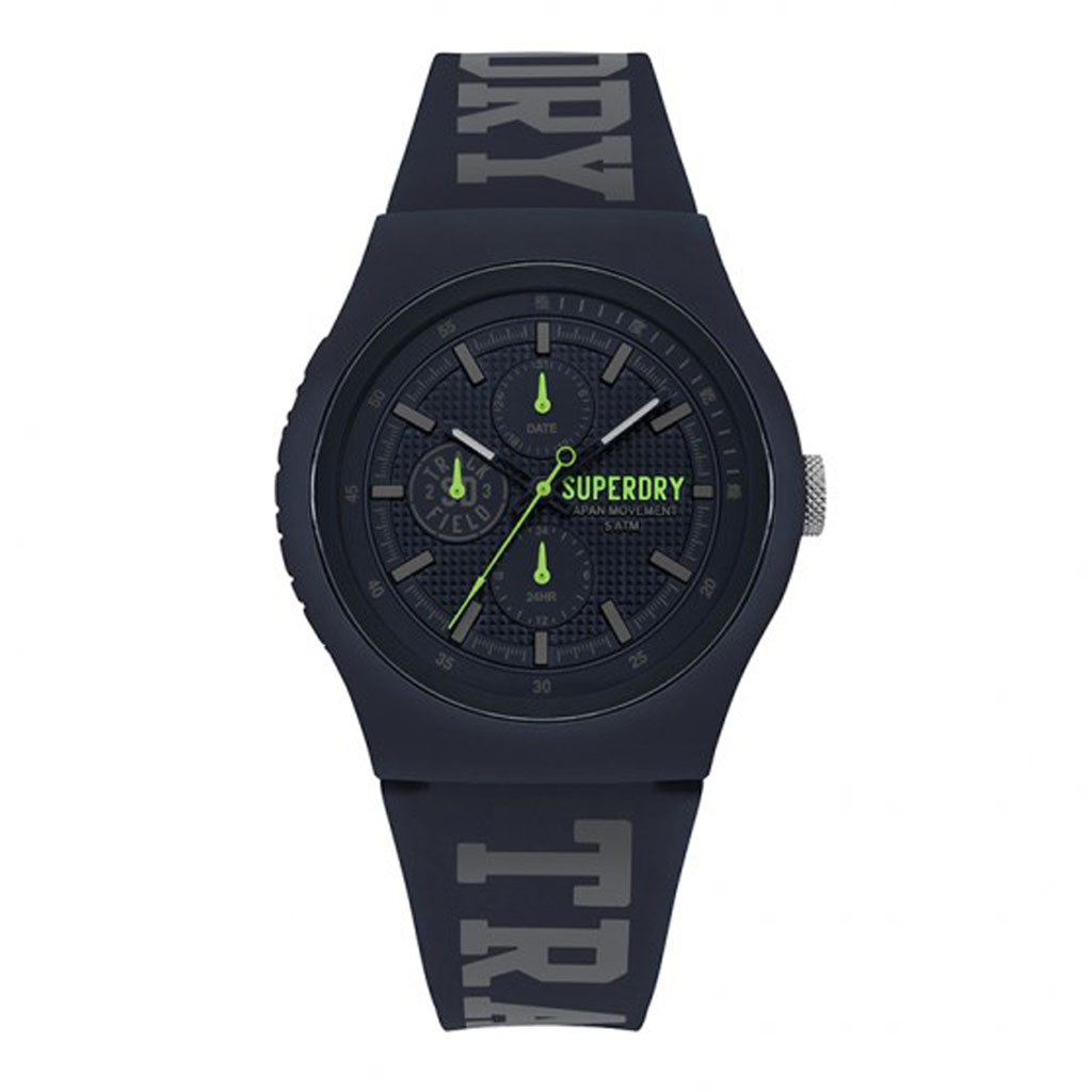 Montre multifonctions silicone \'Superdry\' marine gris vert - 45 mm - [P9129]