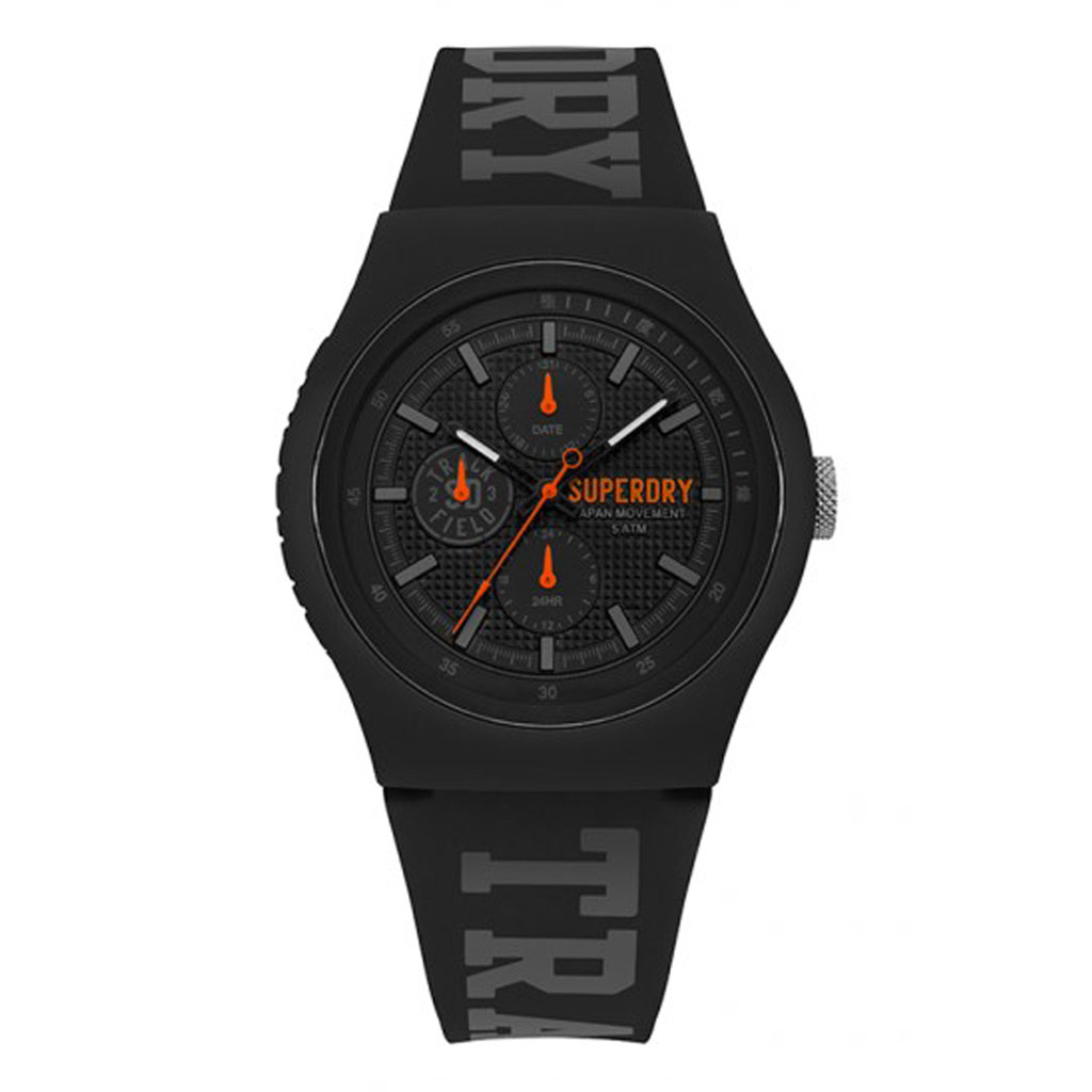 Montre multifonctions silicone \'Superdry\' noir orange - 45 mm - [P9130]