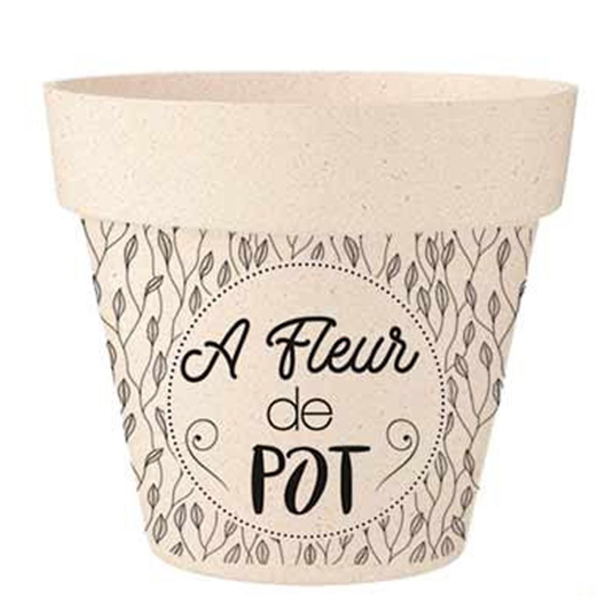 Cache-pot bambou \'A fleur de Pot\' beige noir - 17x15 cm - [R2213]