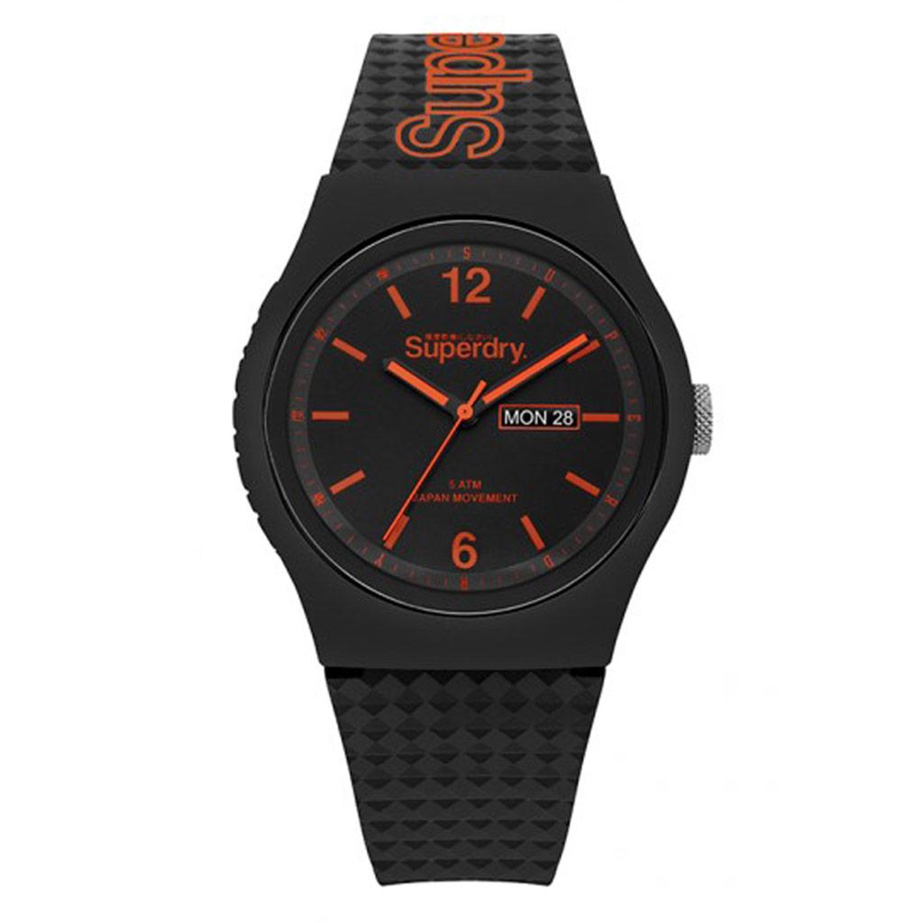 Montre silicone \'Superdry\' noir orange - 45 mm - [P9132]