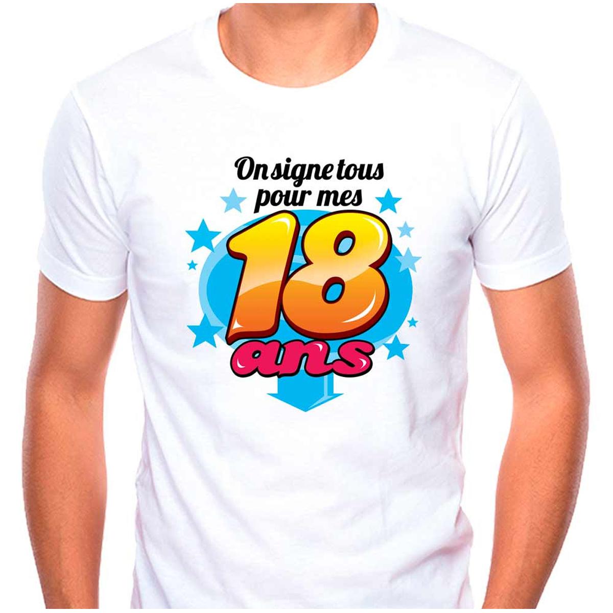 T-shirt coton \'18 ans\' multicolore blanc - (dédicace) - [Q9504]