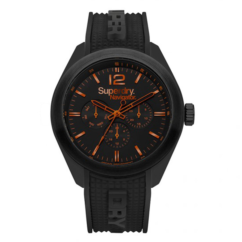 Montre multifonctions silicone \'Superdry\' noir orange (Navigator) - 45 mm - [P9134]
