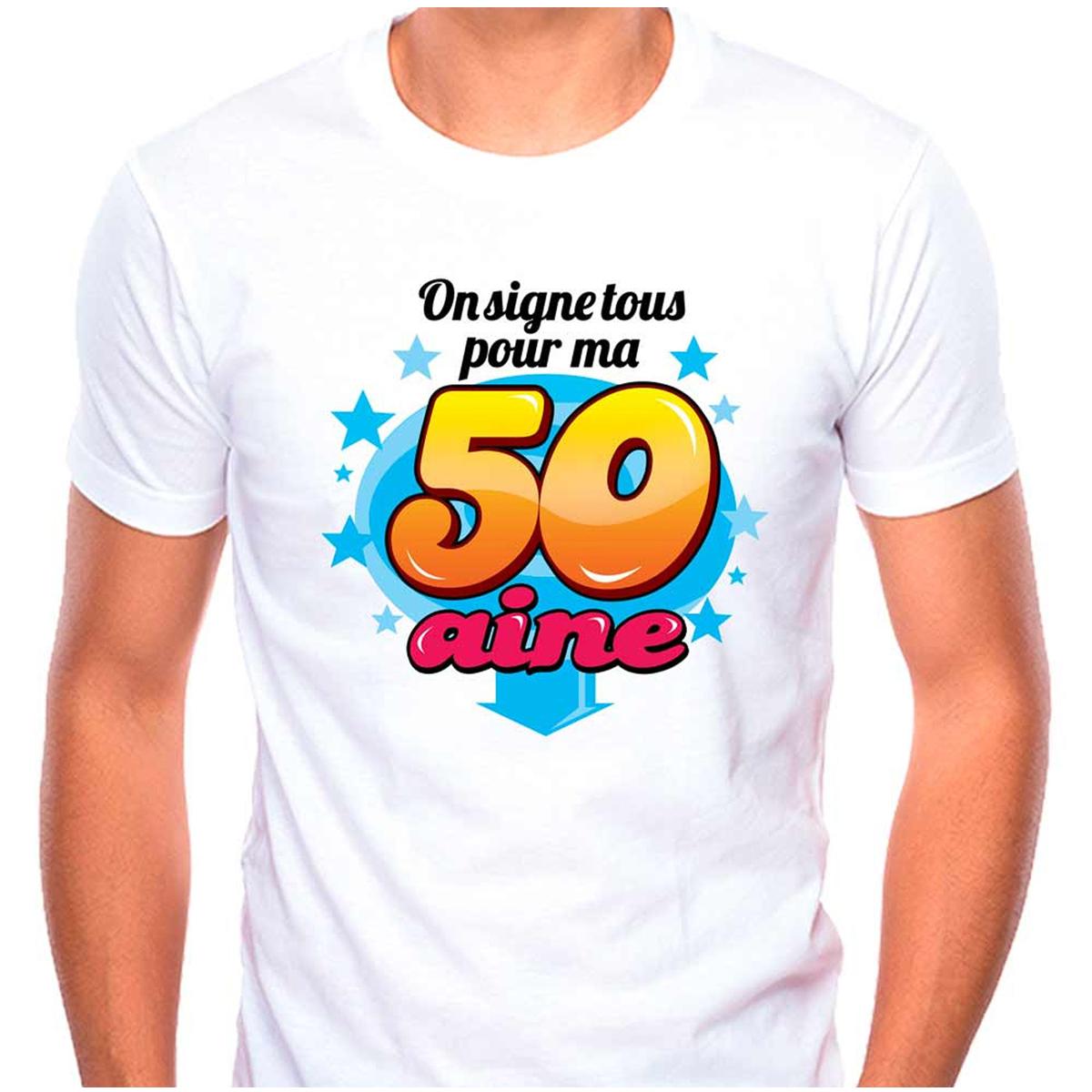 T-shirt coton \'50 aine\' multicolore blanc - (dédicace) - [Q9506]