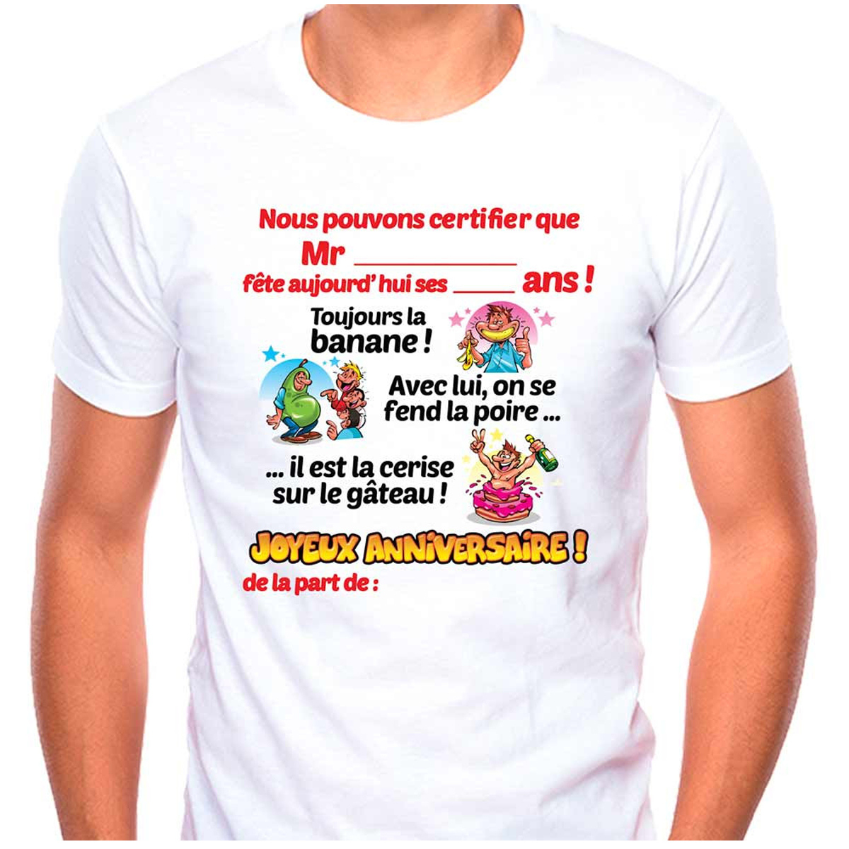 T-shirt coton \'Joyeux Anniversaire\' multicolore blanc - homme (dédicace) - [Q9509]