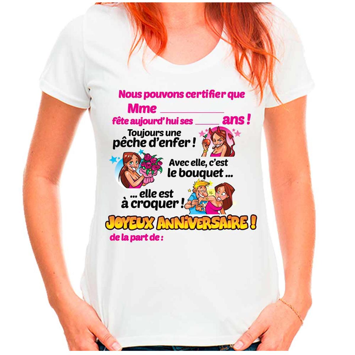 T-shirt coton \'Joyeux Anniversaire\' multicolore blanc - femme (dédicace) - [Q9510]