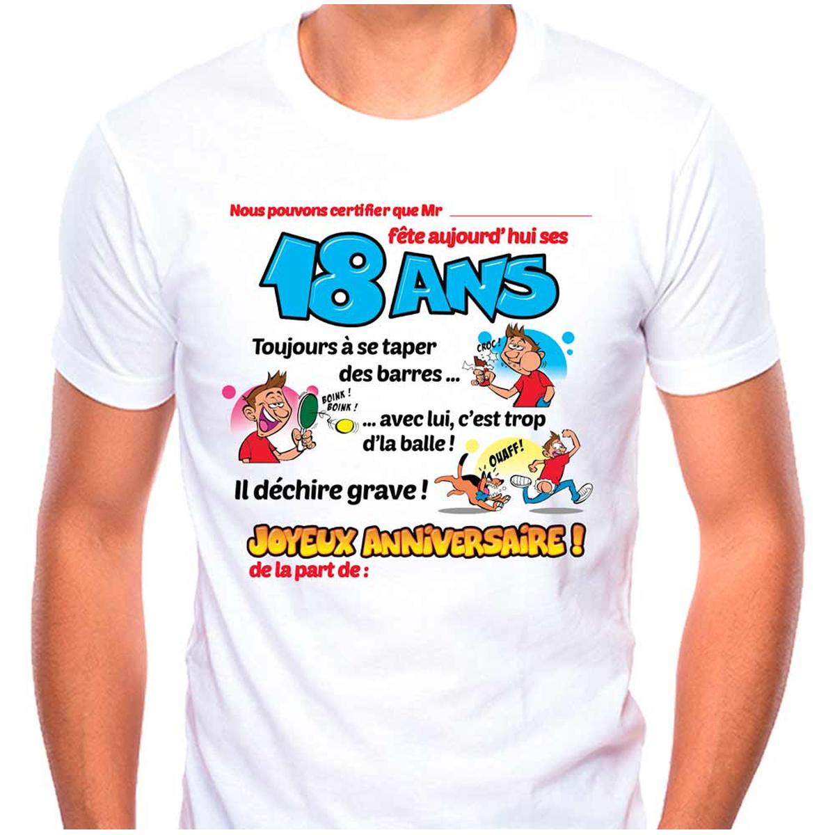 T-shirt coton \'18 ans\' bleu blanc - homme (dédicace) - [Q9511]