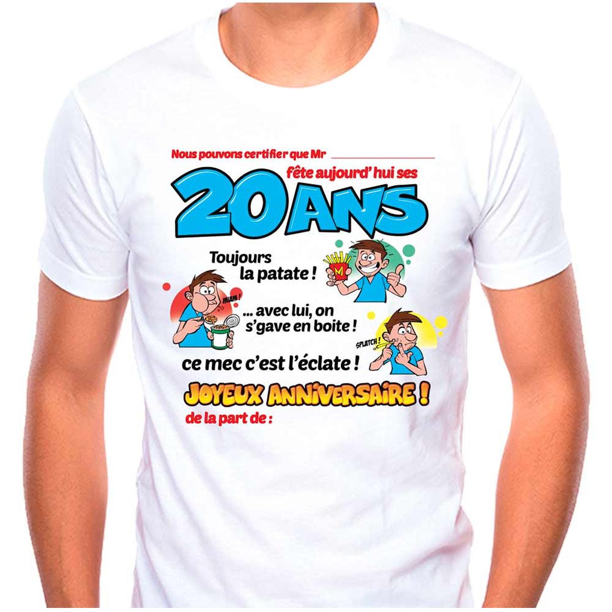 T-shirt coton \'20 ans\' bleu blanc - homme (dédicace) - [Q9512]