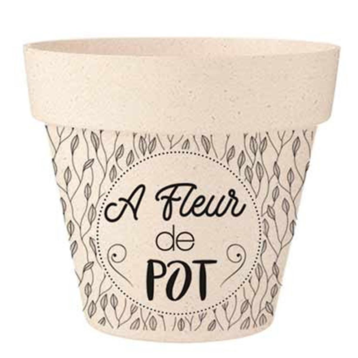 Cache-pot bambou \'A fleur de Pot\' beige noir - 22x21 cm - [R2223]