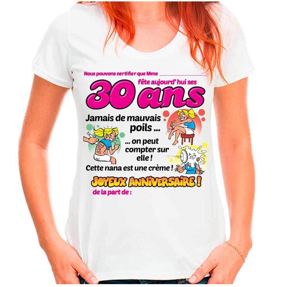 T-shirt coton \'30 ans\' rose blanc - femme (dédicace) - [Q9516]