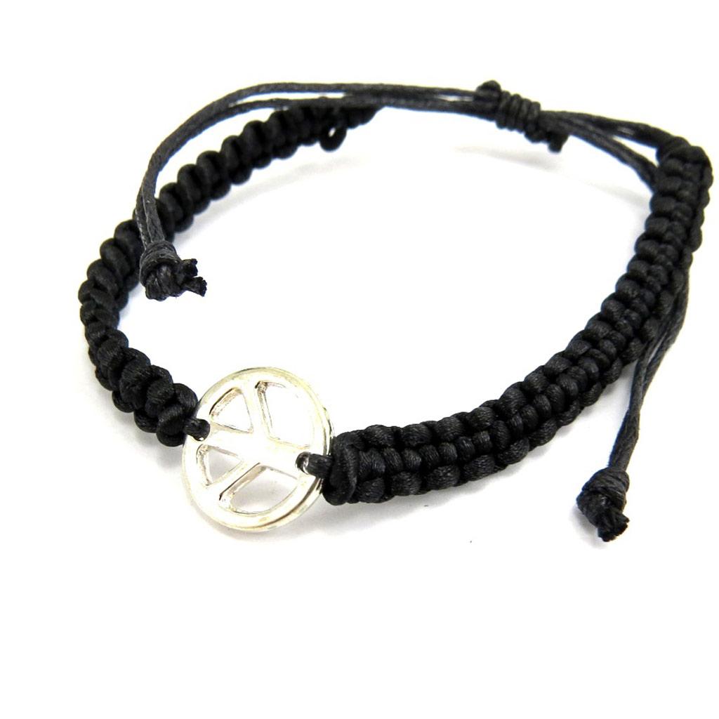 Bracelet fantaisie \'Peace\' noir - [L6429]