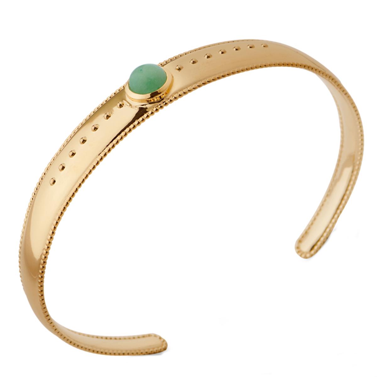 Bracelet Plaqué Or \'Cleopatra\' vert aventurine doré - 7x7 mm - [Q3688]
