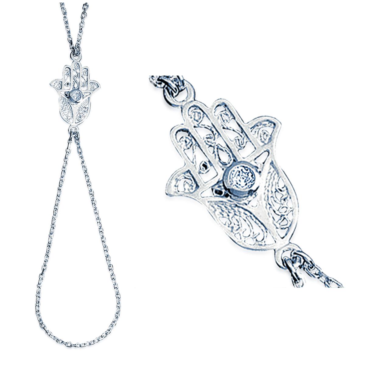 Bracelet Bague Argent \'Fatma\' blanc argenté - 20x15 mm - [E1147]