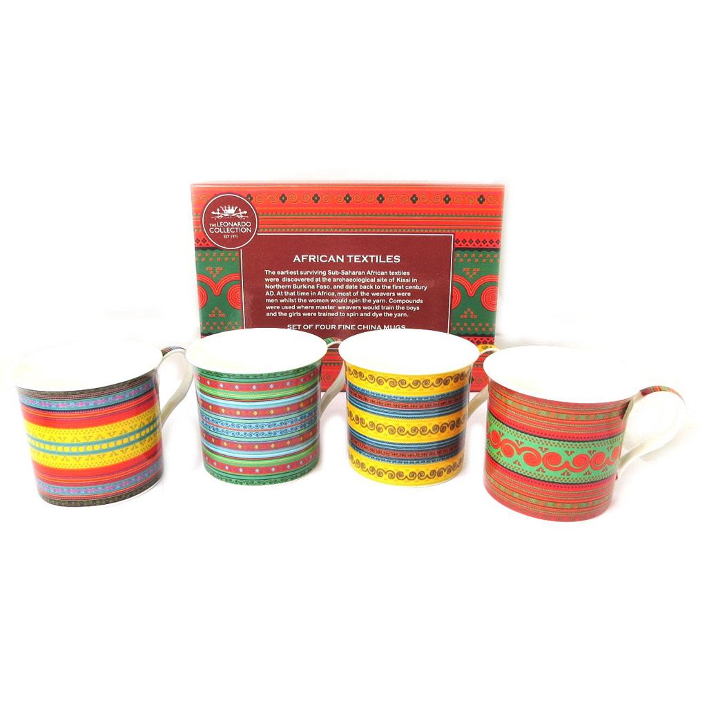 Coffret cadeau \'African Textile\' multicolore (4 mugs) - [N8505]
