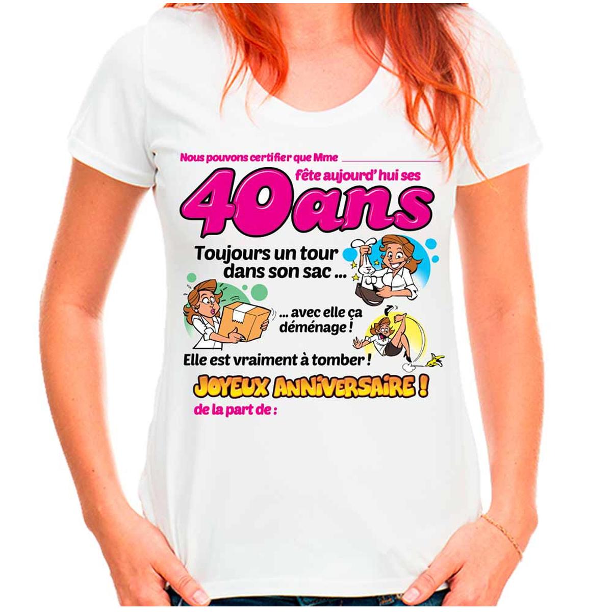 T-shirt coton \'40 ans\' rose blanc - femme (dédicace) - [Q9517]