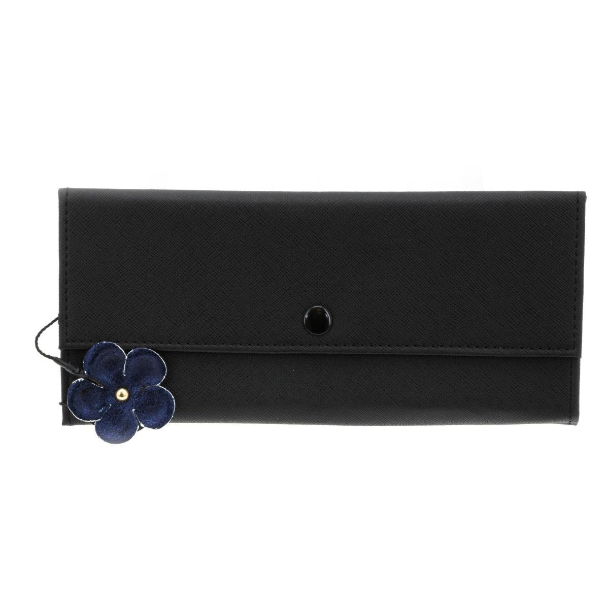 Trousse à bijoux de voyage \'Humeur Fleurie\' noir turquoise - 22x11x2 cm - [Q0646]