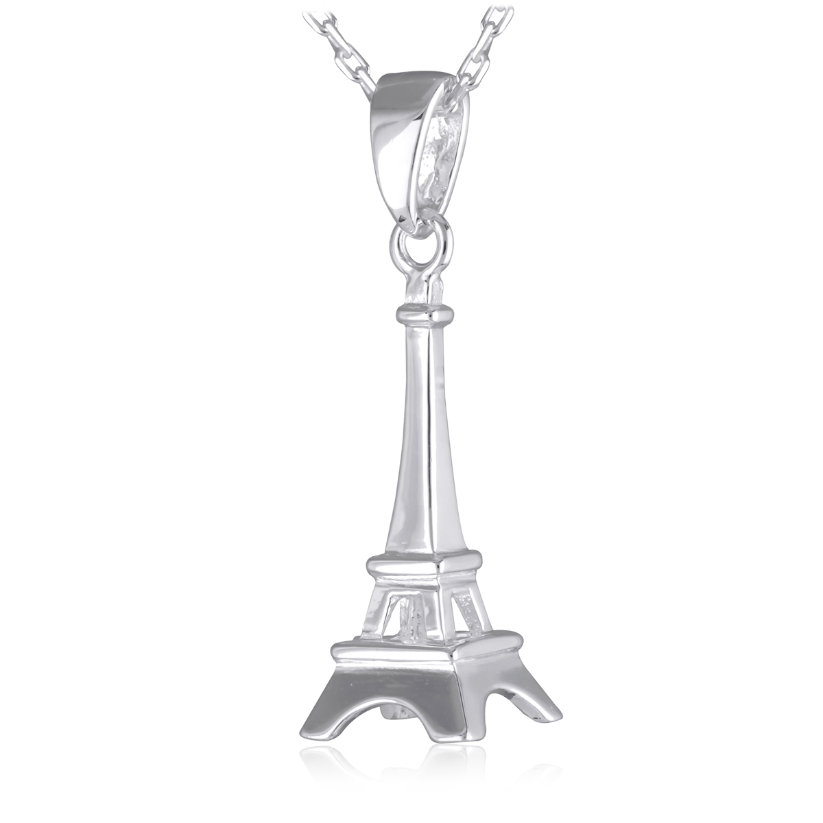 Pendentif Argent \'Tour Eiffel\' argenté - 20x8x8 mm - [P2351]
