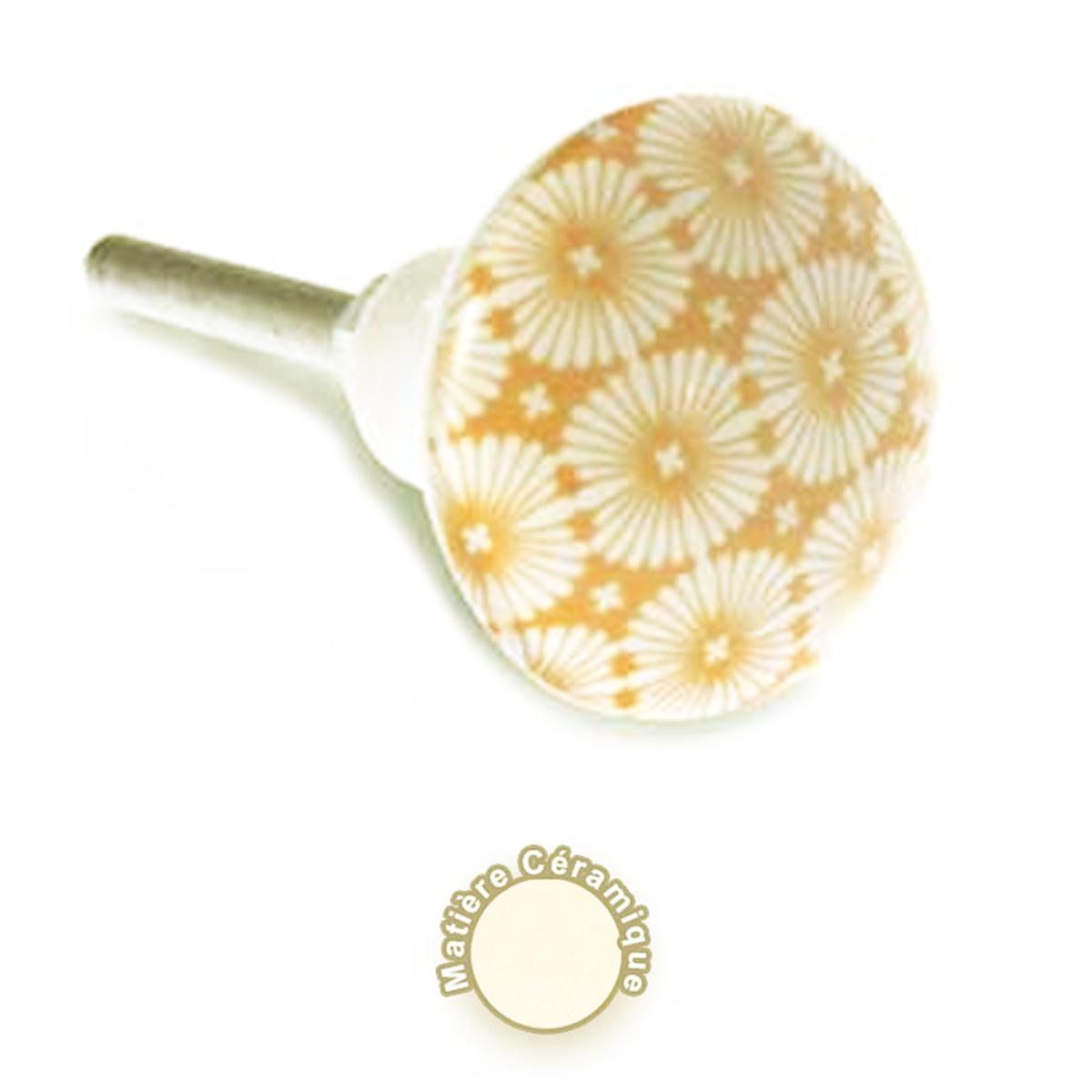 Bouton meuble céramique \'Boho\' beige blanc - 8x4 cm - [A0404]
