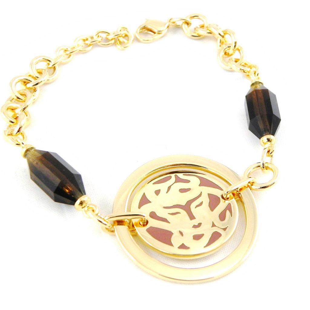 Bracelet Plaqué or \'Calypso\' marron doré - [H3217]