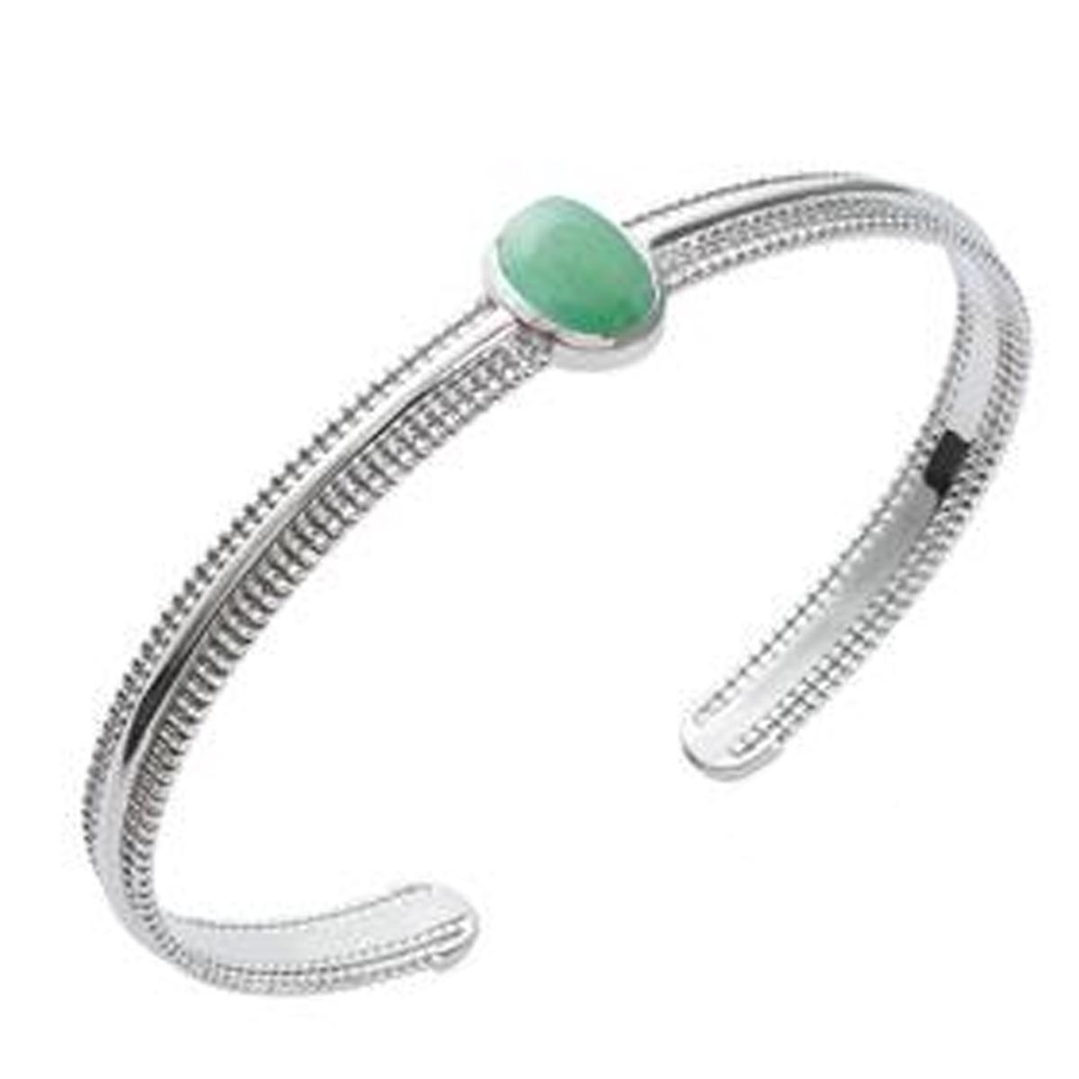 Bracelet Argent \'Cléopatra\' aventurine vert argenté (rhodié) - 58 mm 10x8 mm - [Q3706]