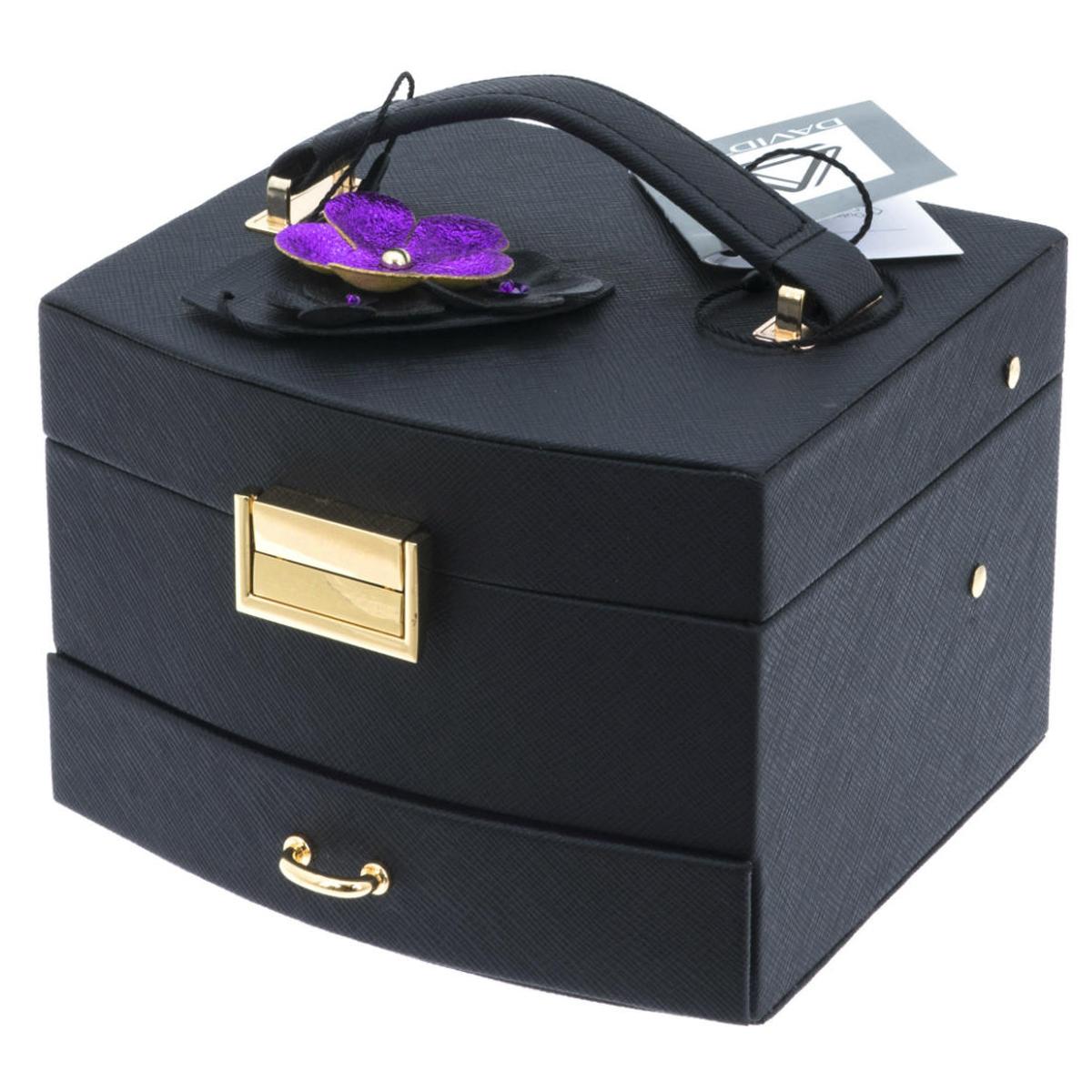 Coffret à bijoux \'Humeur Fleurie\' noir violet - 15x14x105 cm - [Q0650]