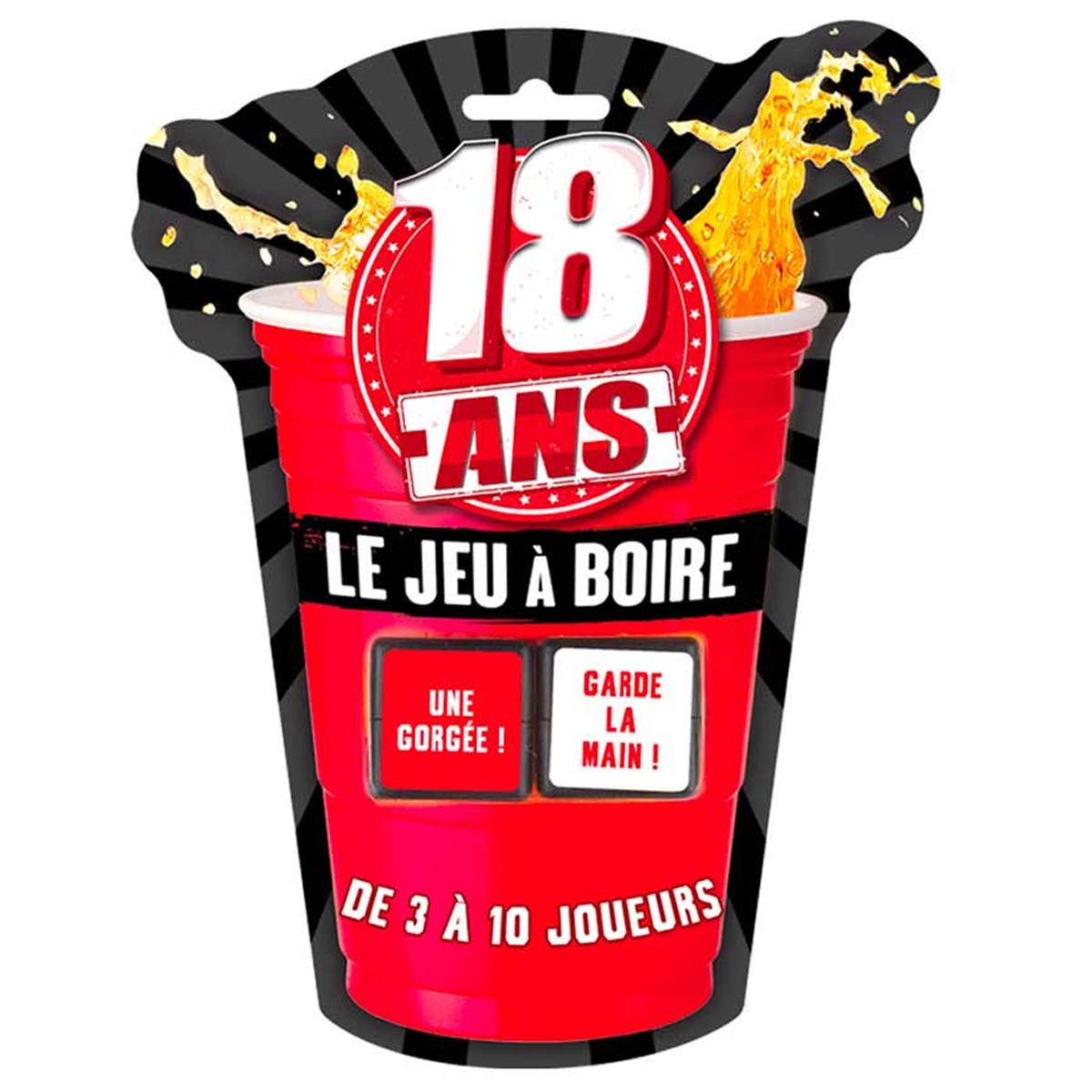 Jeu à boire \'18 ans\' rouge noir - 2 dés - [Q9533]