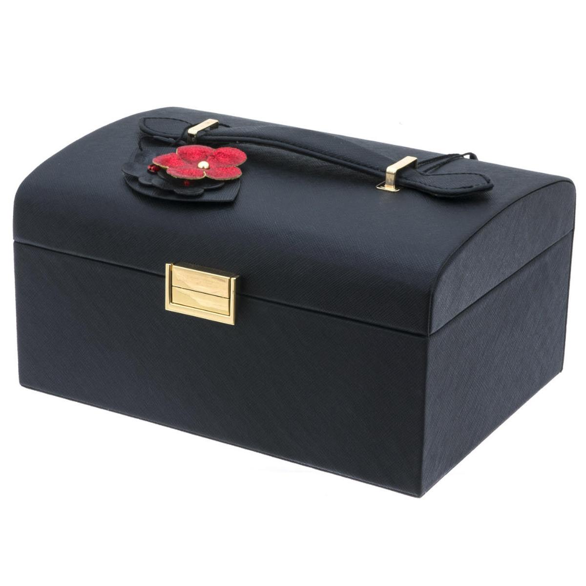 Coffret à bijoux \'Humeur Fleurie\' noir rouge - 225x185x115 cm - [Q0651]