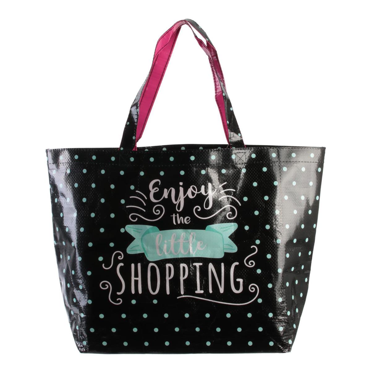 Sac Shopping \'Enjoy the little Shopping\' noir turquoise - 50x35x15 cm - [Q8101]