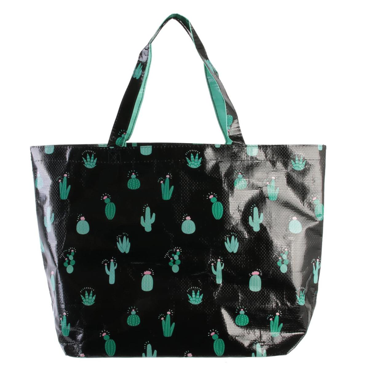 Sac Shopping \'Cactus\' noir vert - 50x35x15 cm - [Q8102]