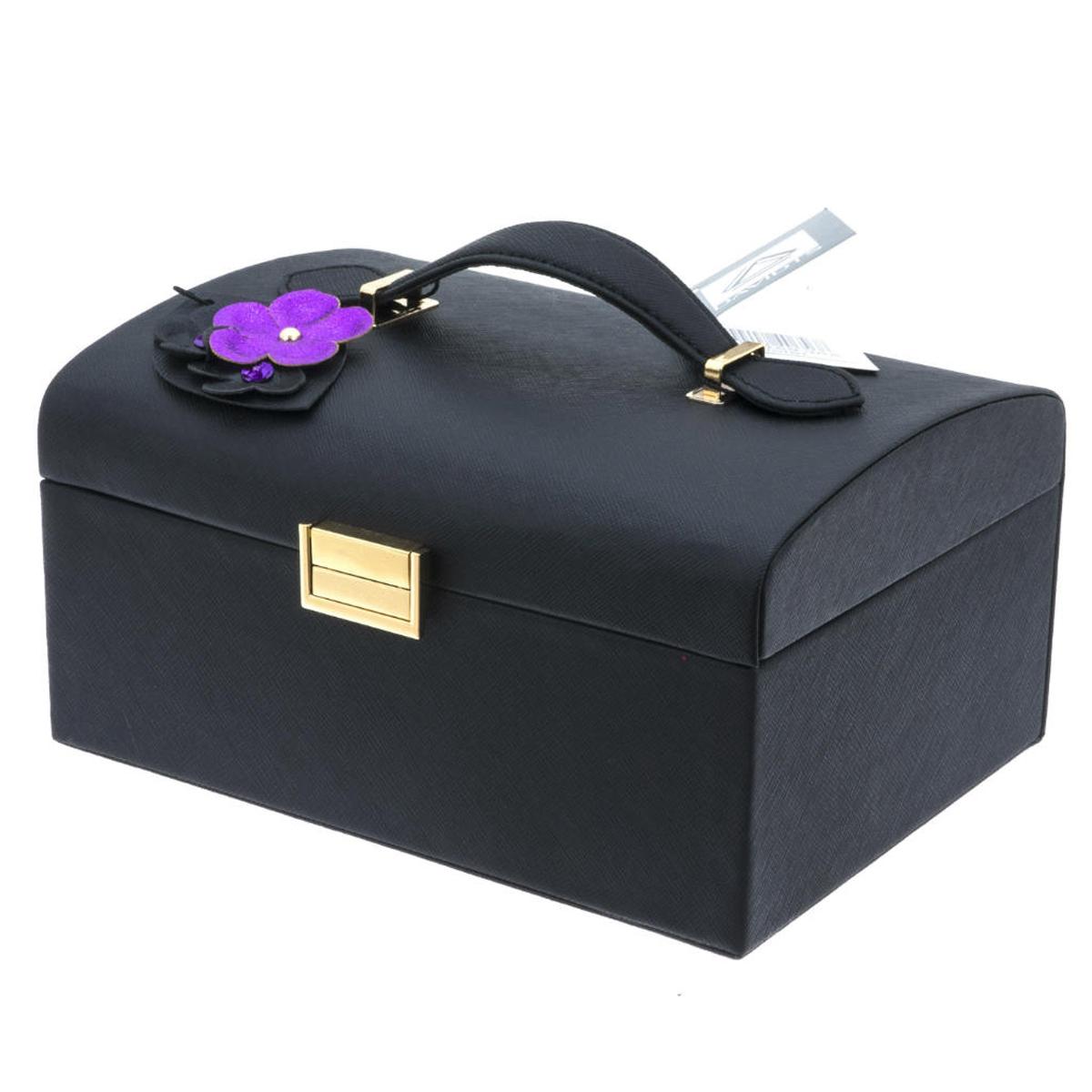 Coffret à bijoux \'Humeur Fleurie\' noir violet - 225x185x115 cm - [Q0653]