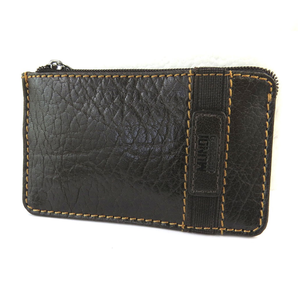 Porte-monnaie cuir \'Mundi\' marron vintage - 12x72 cm - [N5785]