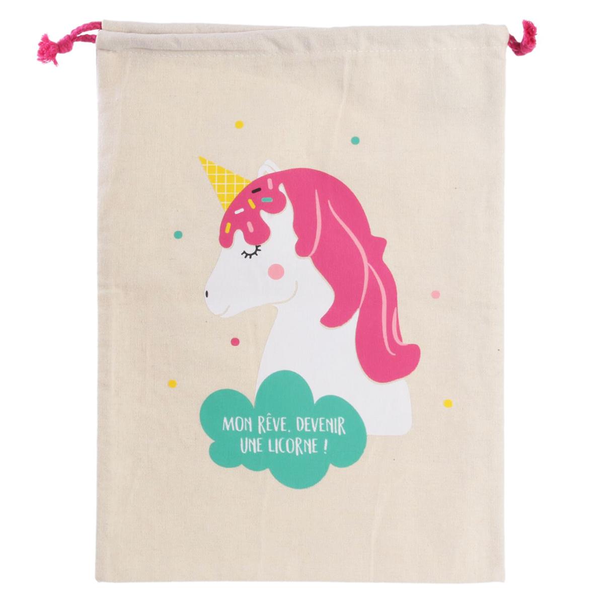 Pochette toile \'Licorne My Unicorn\' (Mon rêve, devenir une licorne !) - 35x27 cm - [Q8109]
