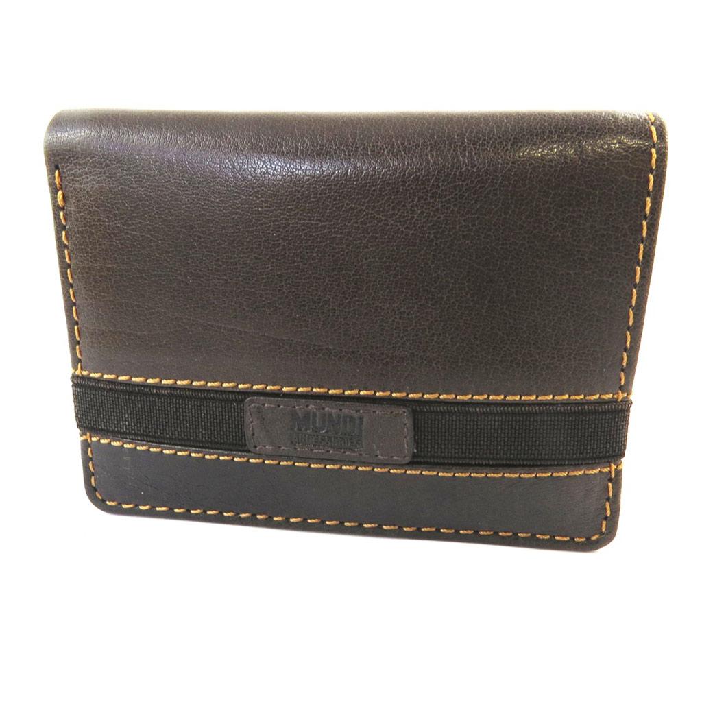 Portefeuille européen cuir \'Mundi\' marron vintage - 125x95 cm - [N5786]
