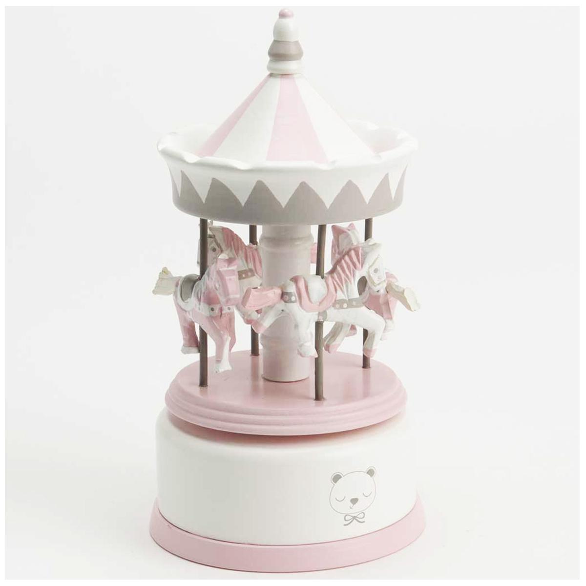 Carrousel musical bois \'Il Etait Une Fois\' rose blanc (thème musical Frère Jacques) - 21x10 cm - [Q9545]