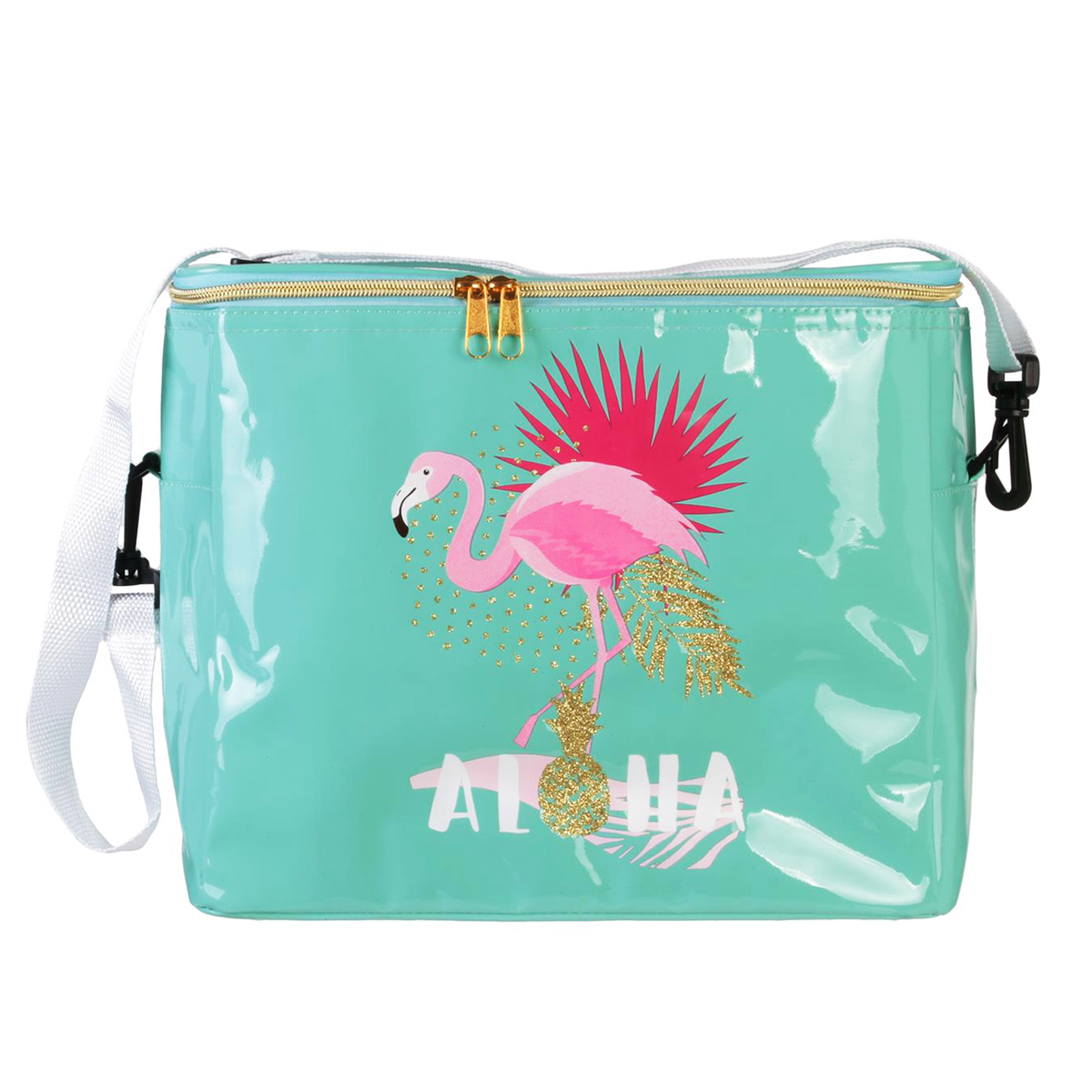 Sac isotherme \'Tropical\' turquoise (flamant rose) - 30x27x17 cm (135L) - [Q8111]