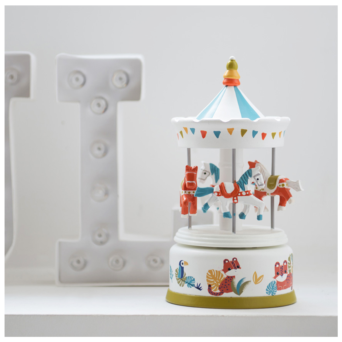 Carrousel musical bois \'Il Etait Une Fois\' multicolore blanc (jungle) - 21x10 cm - [Q9549]