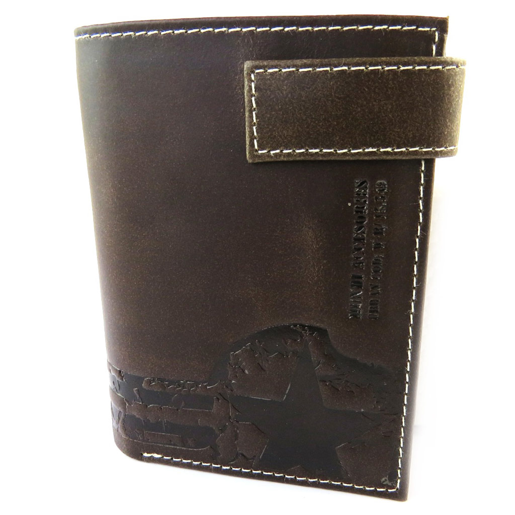 Portefeuille européen cuir \'Mundi\' marron vintage - 125x95 cm - [N5790]