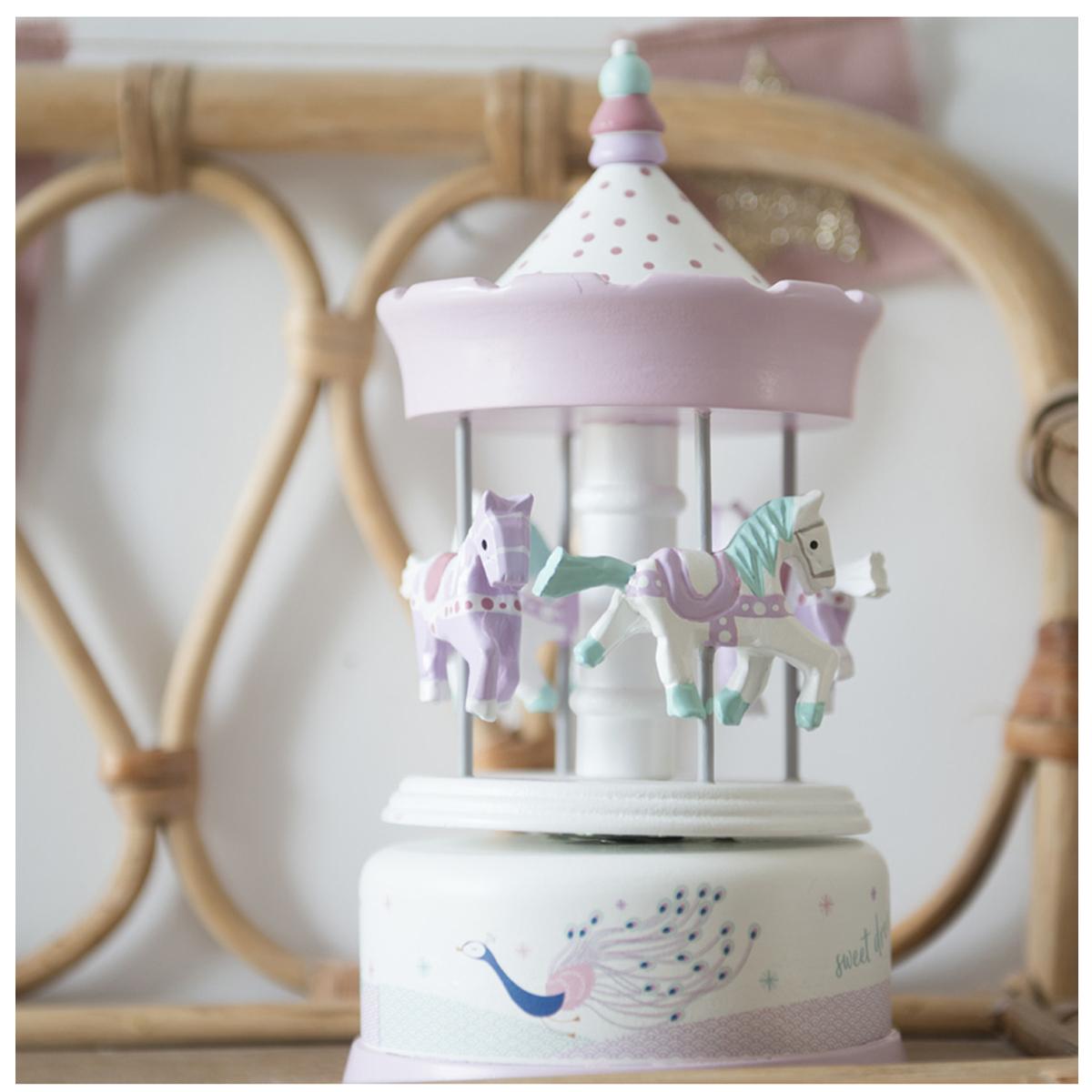 Carrousel musical bois \'Il Etait Une Fois\' mauve blanc (paon - sweet dreams) - 21x10 cm - [Q9550]