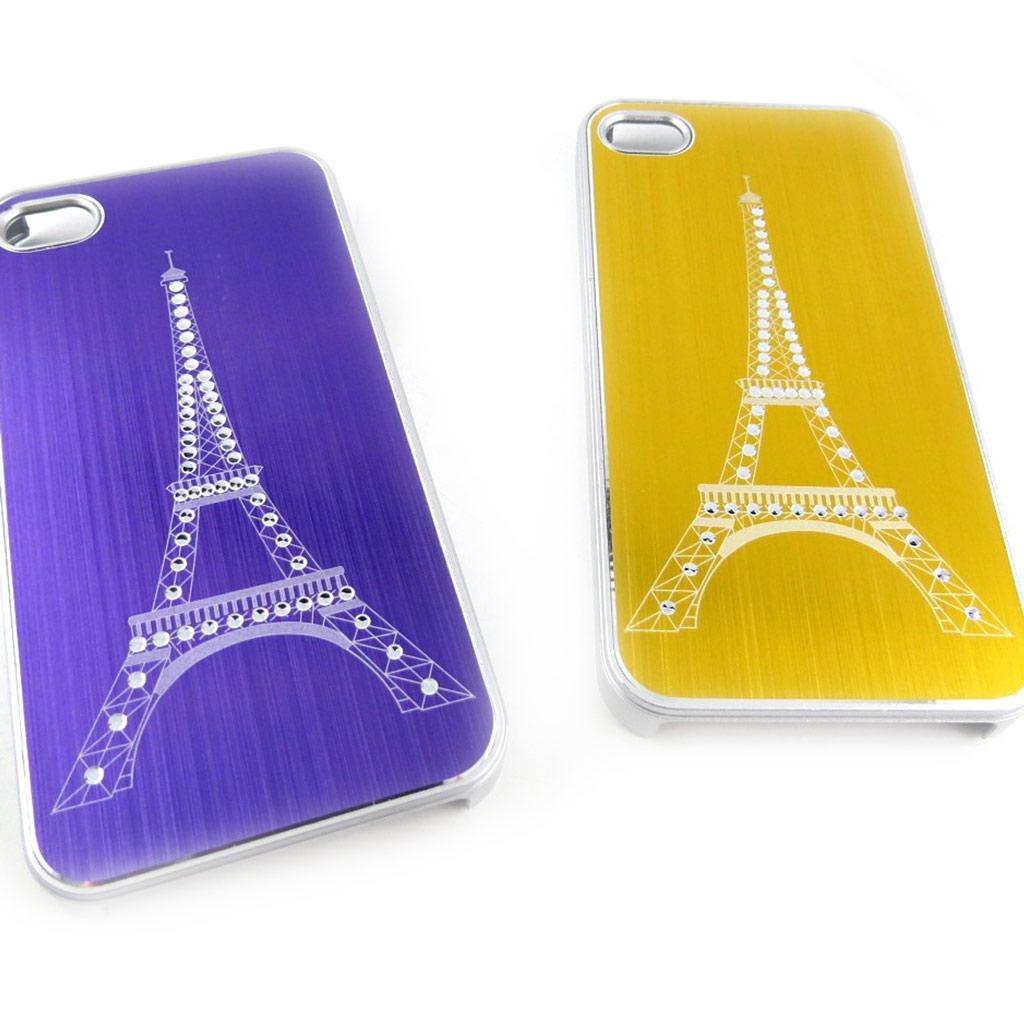 2 coques créateur \'Tour Eiffel\' Iphone 4 4S (violet doré) - [K8513]