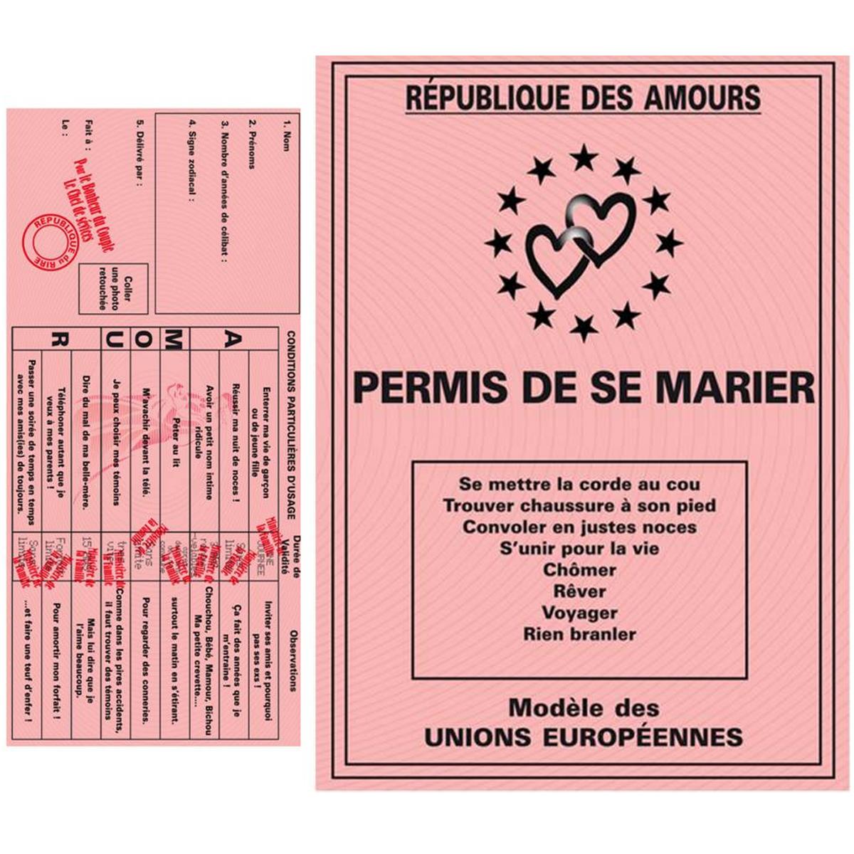 Carte spéciale \'Permis de se marier\' - 205x145 cm - [L1483]