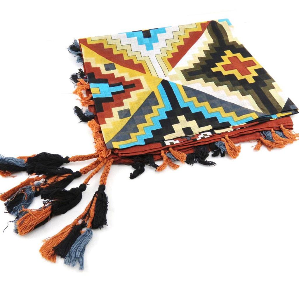 Carré \'Azteca\' marron multicolore - [J2721]