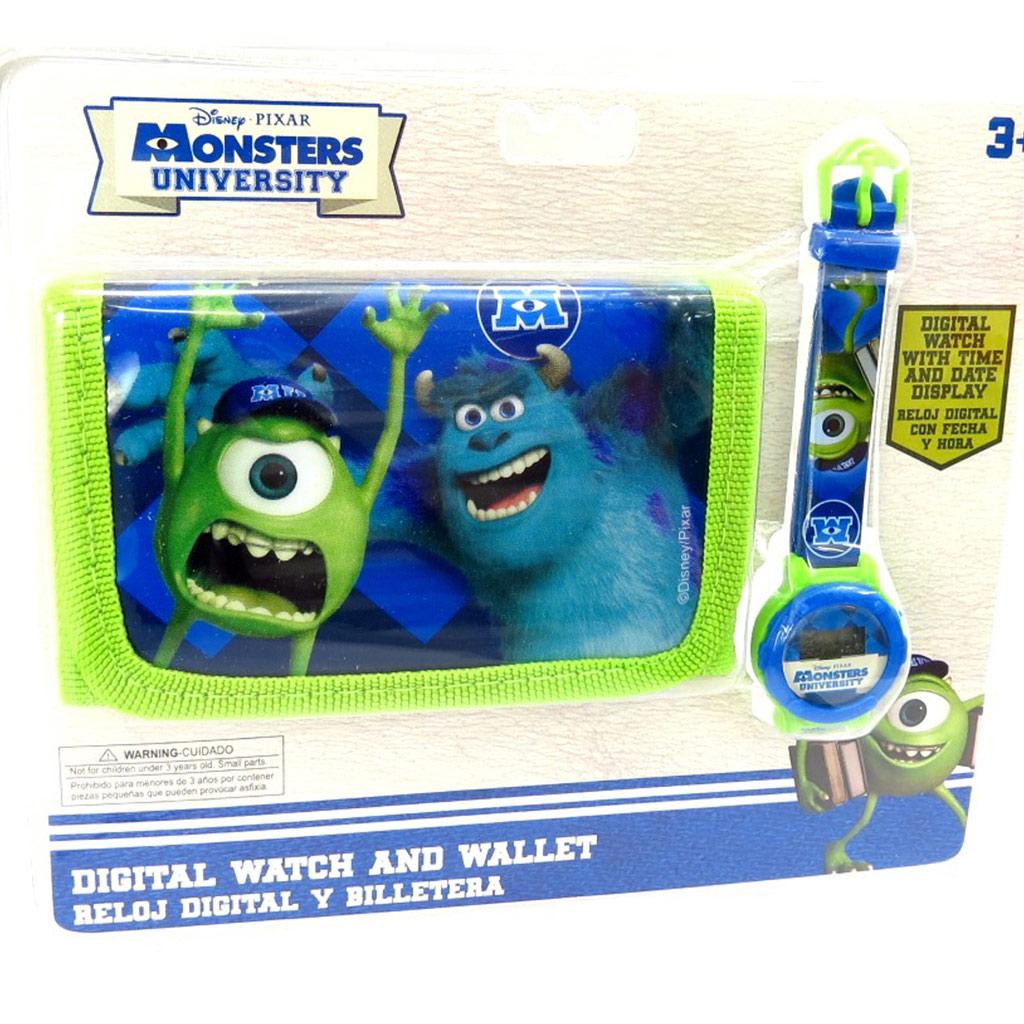 Coffret montre + portefeuille \'Monsters University\' vert bleu - [K5249]