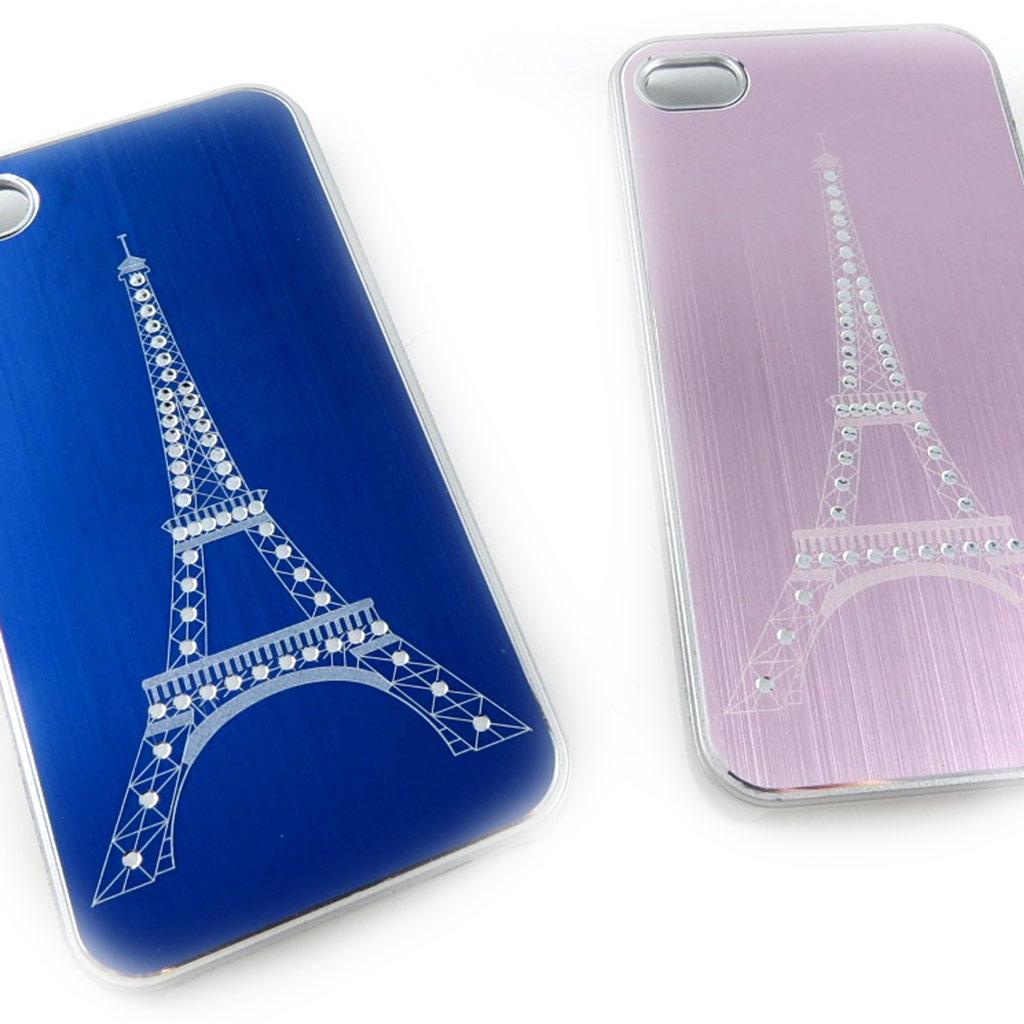 2 coques créateur \'Tour Eiffel\' Iphone 4 4S (bleu rose) - [K8514]