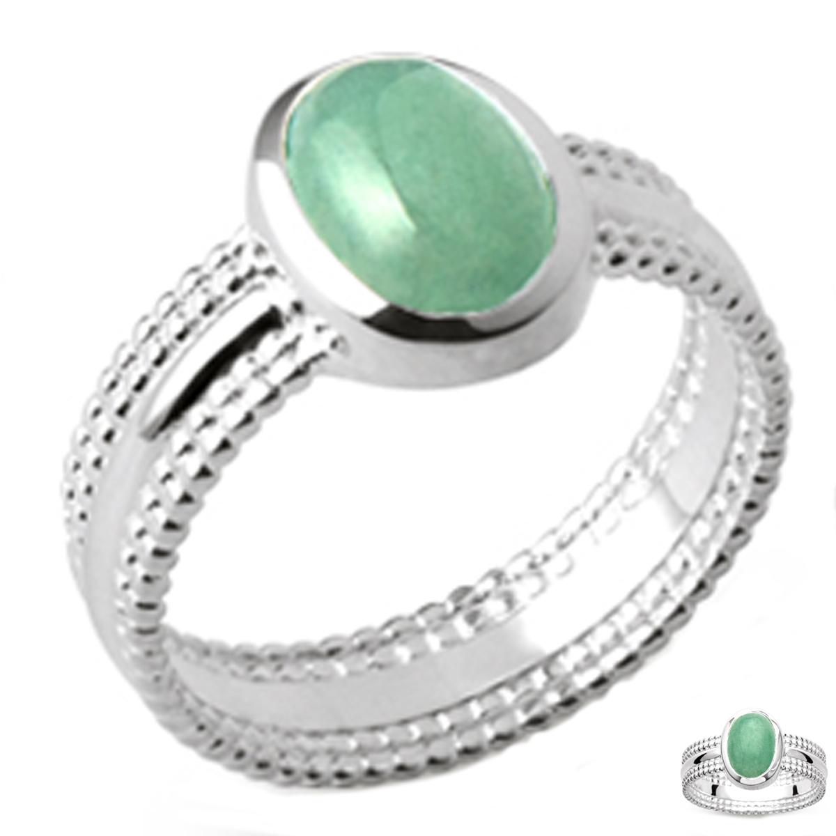 Bague Argent \'Cléopatra\' vert aventurine argenté (rhodié) - 12x8 mm - [Q3717]